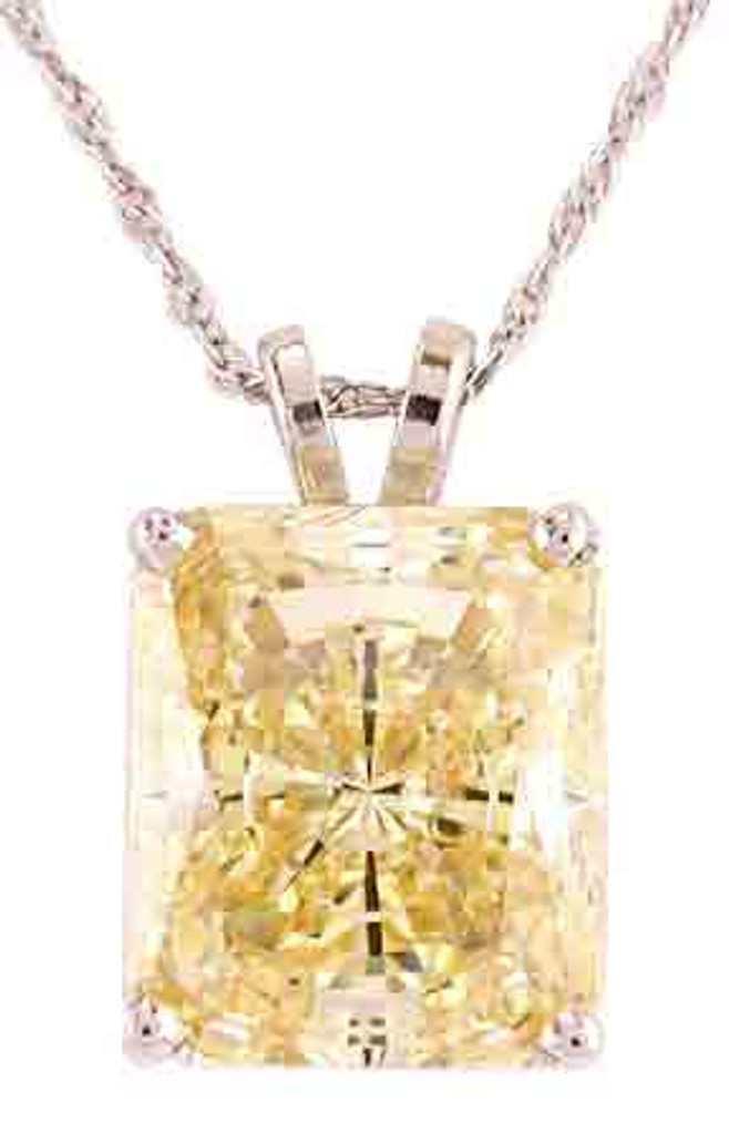 Stunning 6.50Ct Radiant Cut Canary Yellow CZ Pendant