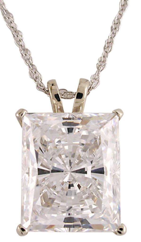 6.50Ct Radiant Emerald Cut CZ Pendant
