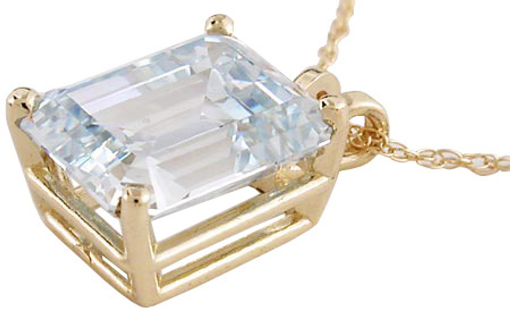 6.50Ct Aquamarine CZ In A Solid 14 Karat Gold Setting