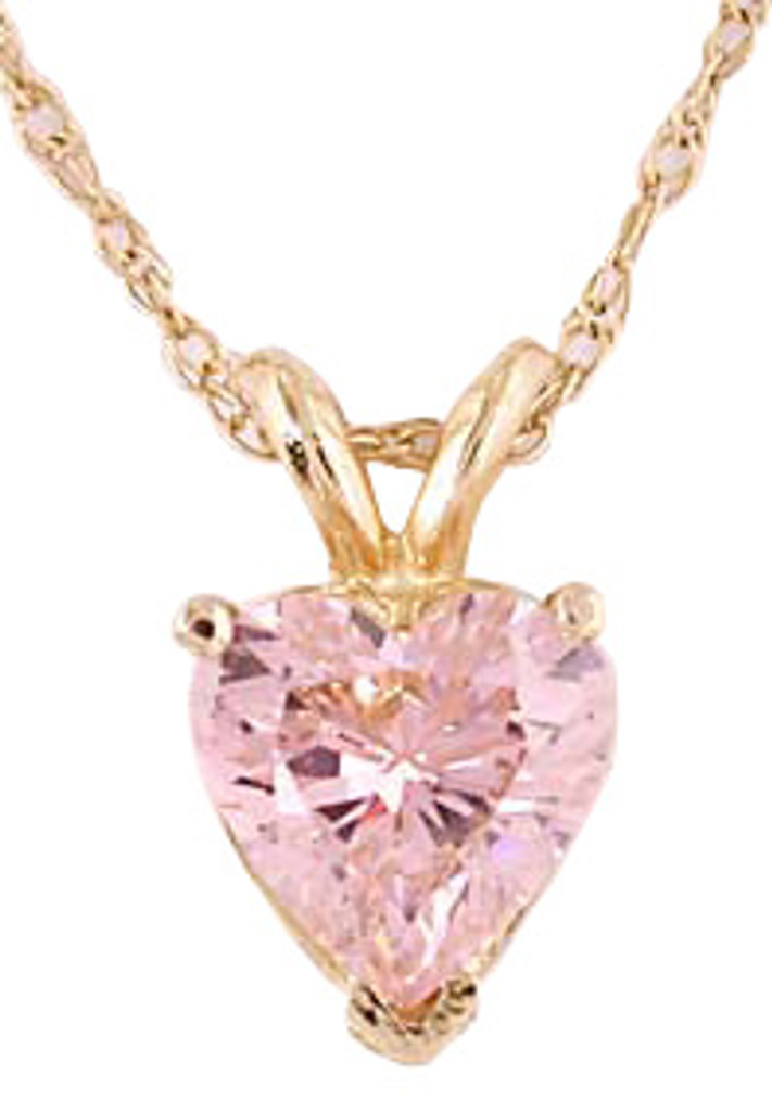 Gorgeous 1.25Ct Pink Heart Cubic Zirconia Pendant