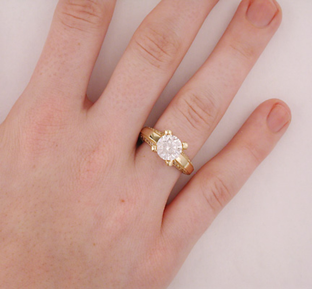 2 Carat Round CZ Hidden Stones Engagement Ring
