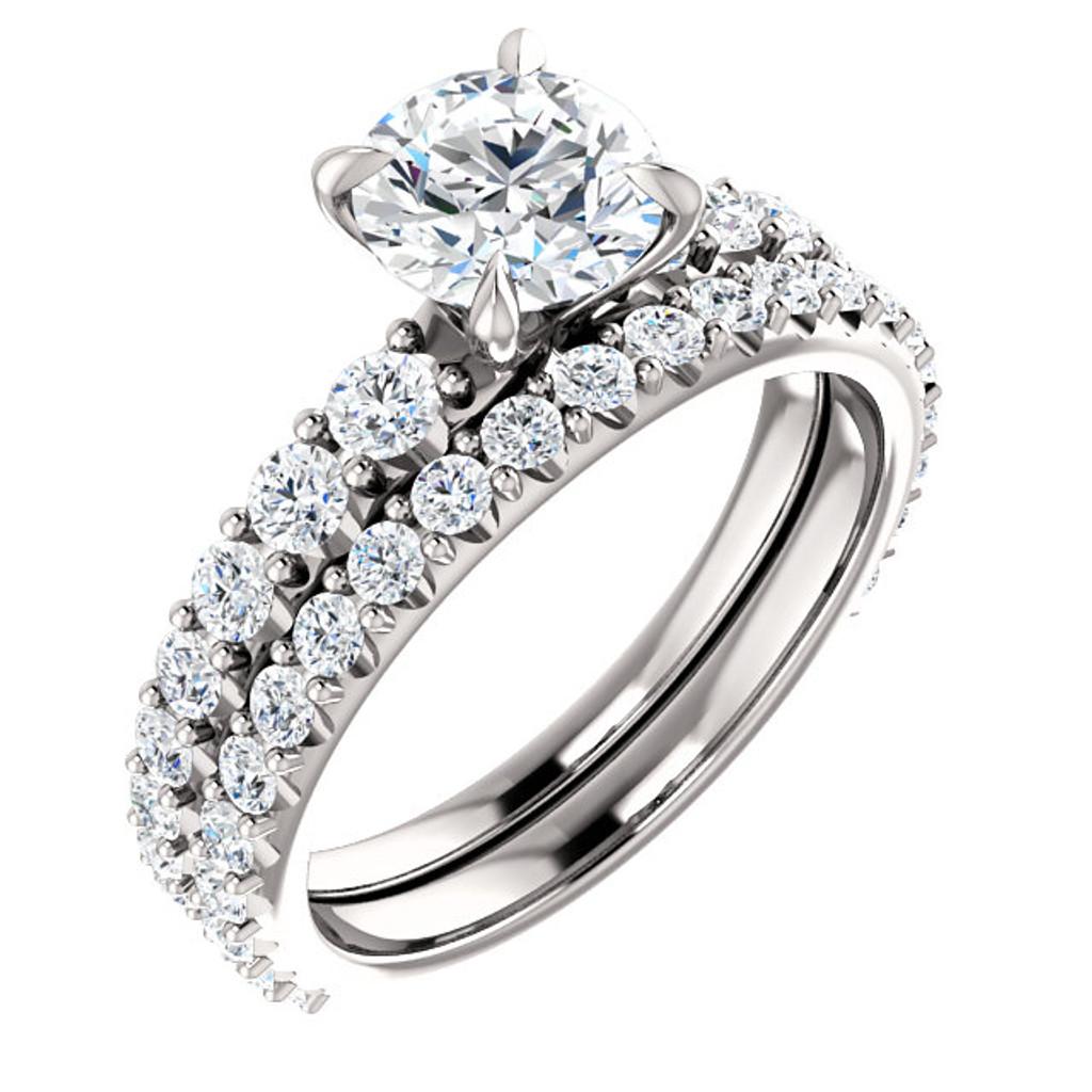 1 Carat Round Cubic Zirconia Bridal Set