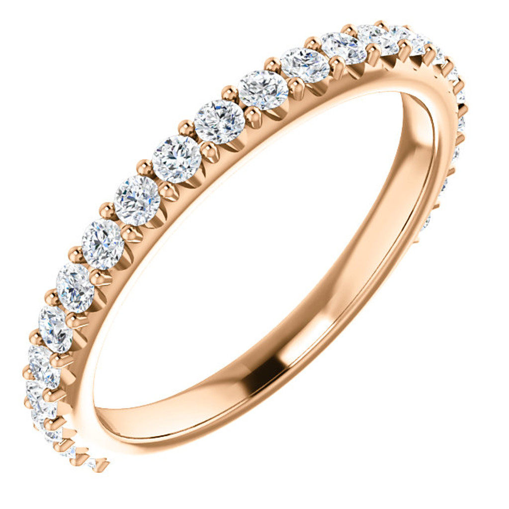 Cubic Zirconia Wedding Band in Rose Gold