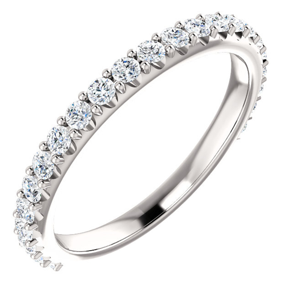 Cubic Zirconia Stackable Band in Solid 14 Karat White Gold