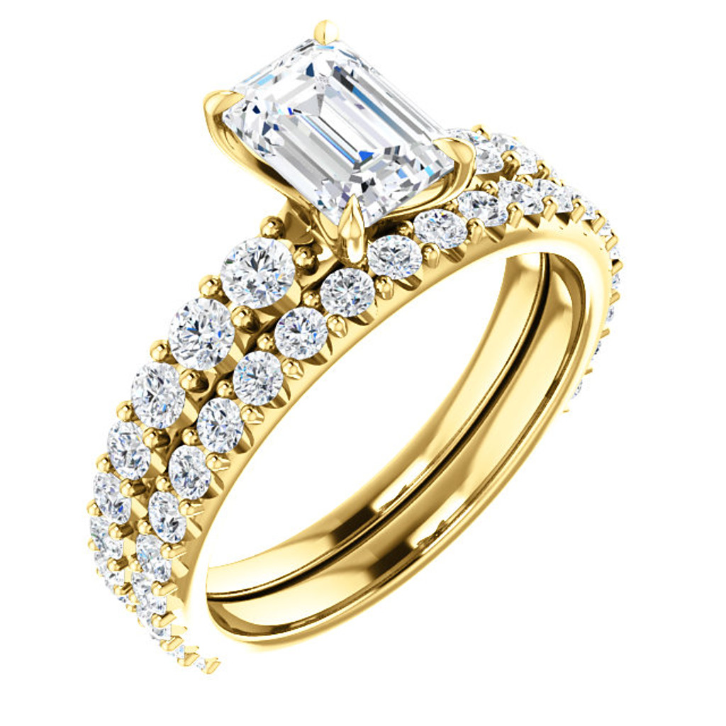 Matching CZ Band in Solid 14 Karat Yellow Gold Band