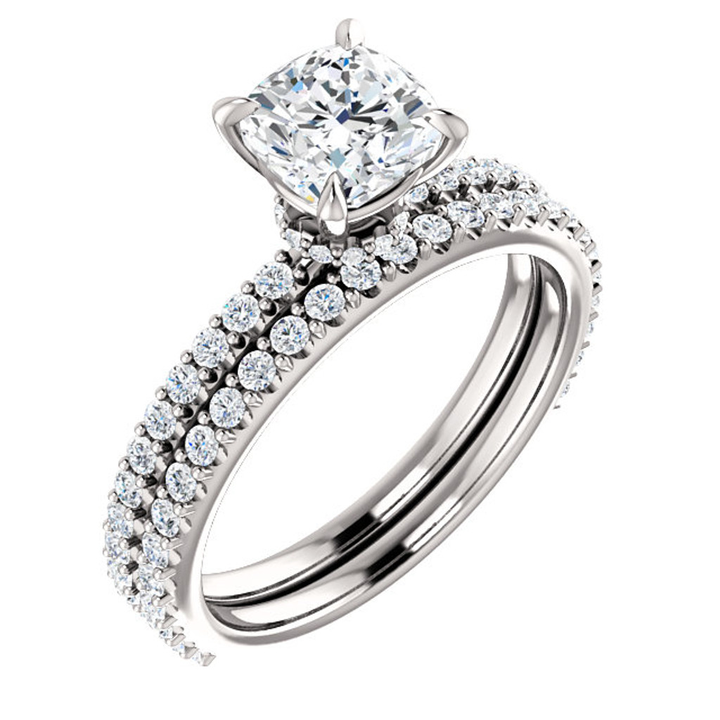 1 Carat Cushion Cut Cubic Zirconia Engagement Ring