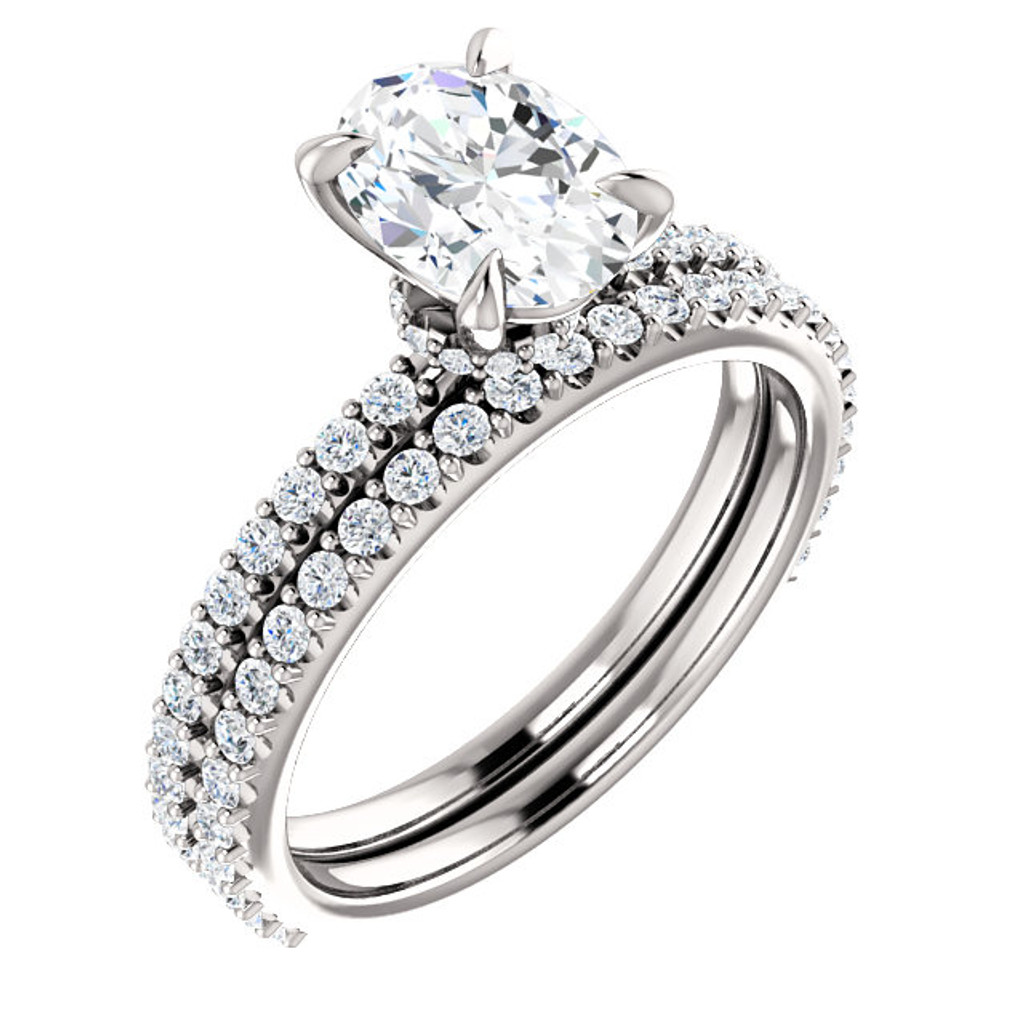 1 Carat Oval Cubic Zirconia Engagement Ring