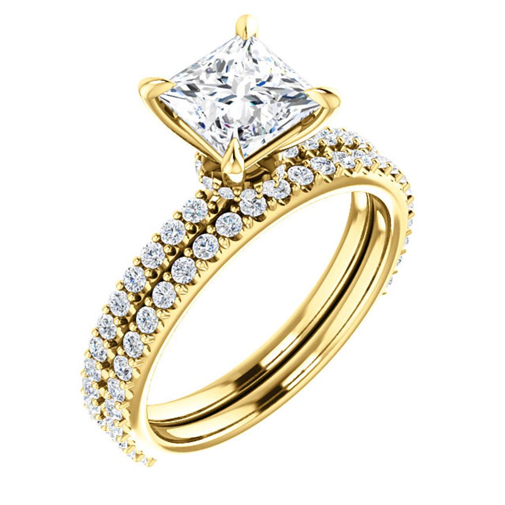 1 Carat Princess Cut Cubic Zirconia Engagement Ring