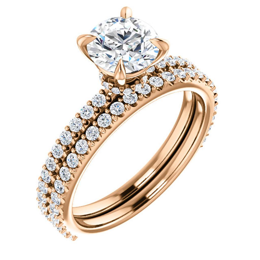 1 Carat Round Cubic Zirconia Wedding Set in 14 Karat Pink Gold