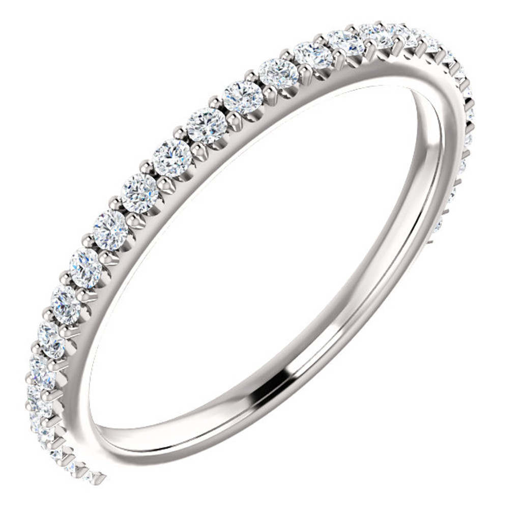 Stackable Wedding Band in Solid 14 Karat White Gold