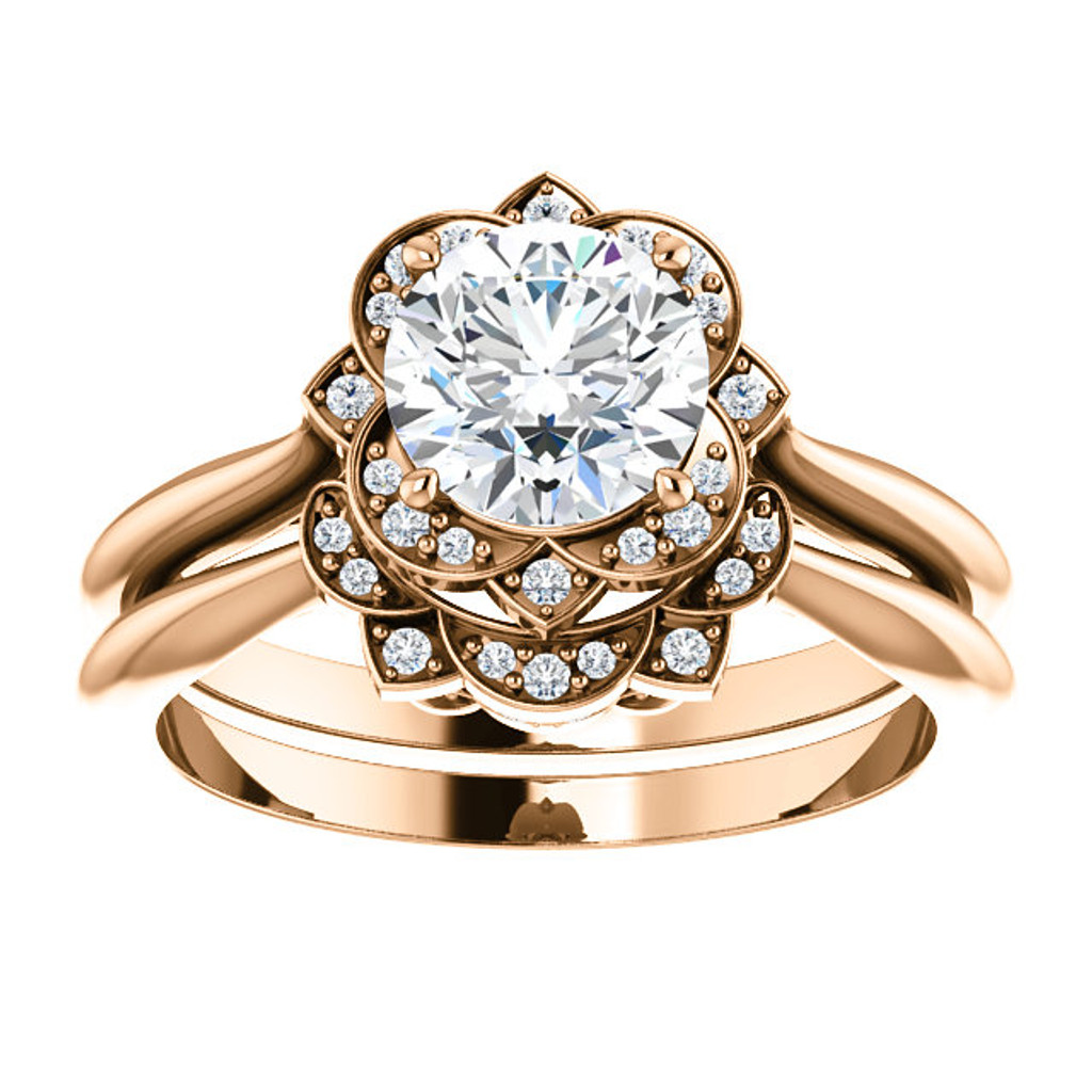 14 Karat Rose Gold Cubic Zirconia Engagement Set