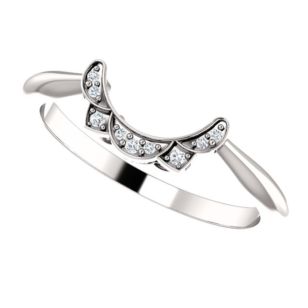 Cubic Zirconia Curved Wedding Band