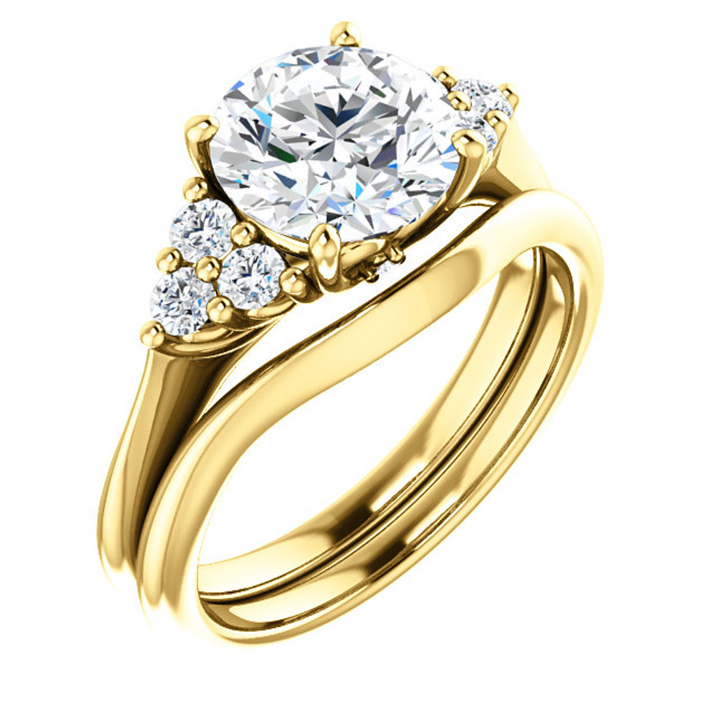 2 Carat Cubic Zirconia Wedding Set in Solid 14 Karat Yellow Gold