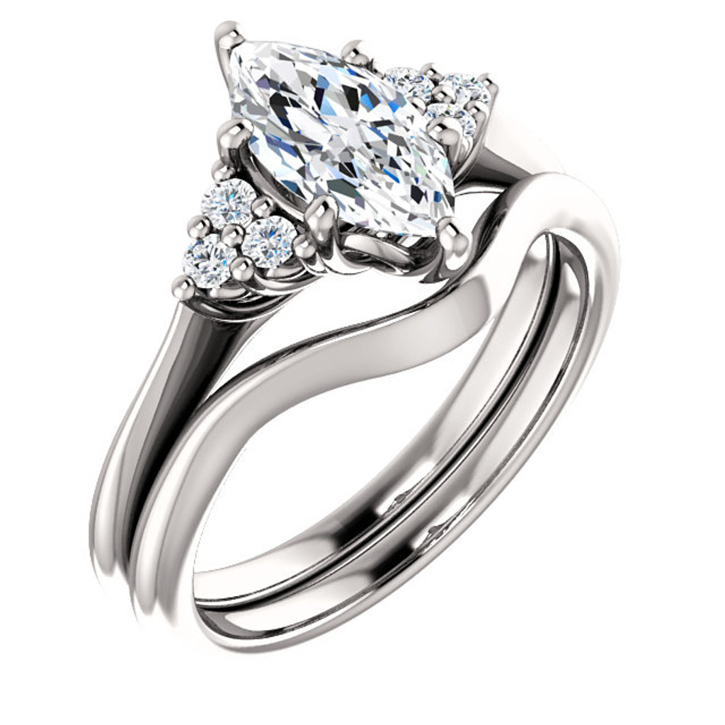 1 Carat Marquise Cubic Zirconia Engagement Ring & Matching Band