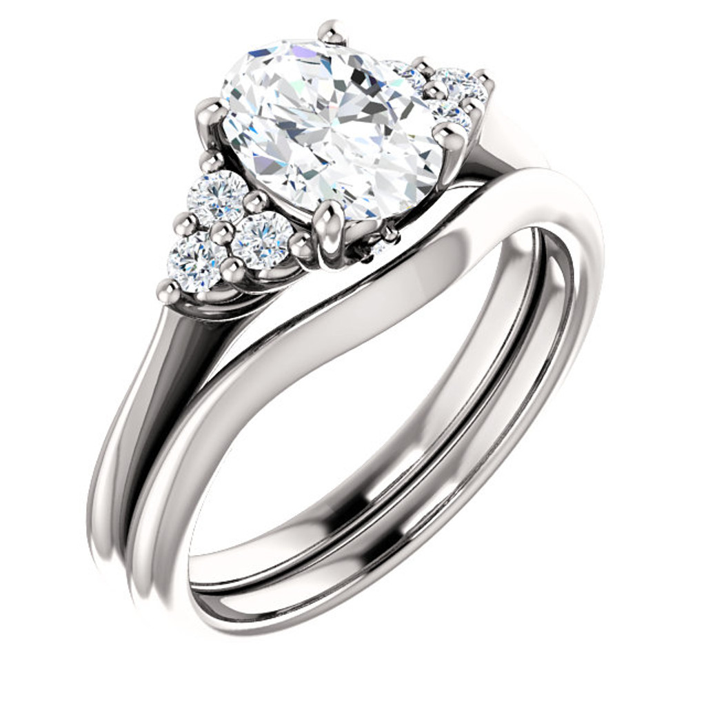 1 Carat Oval Cubic Zirconia Engagement Ring & Matching Band