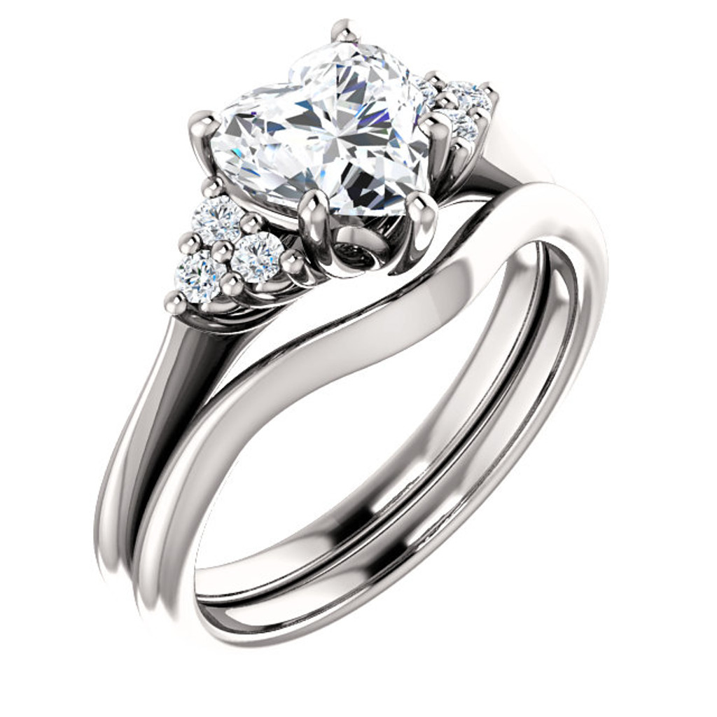 1 Carat Heart Cubic Zirconia Engagement Ring & Matching Band
