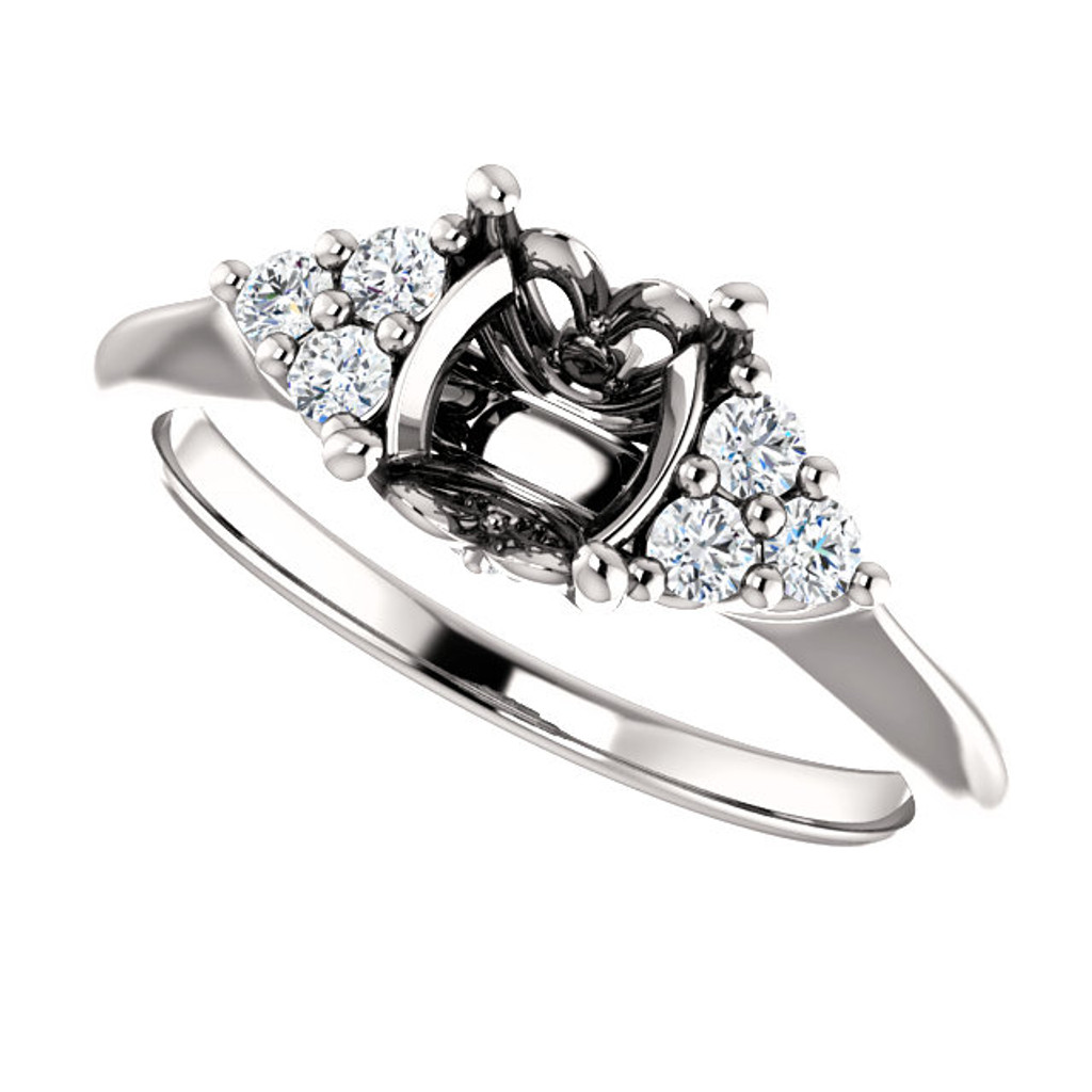 Solid 14 Karat White Gold Engagement Ring