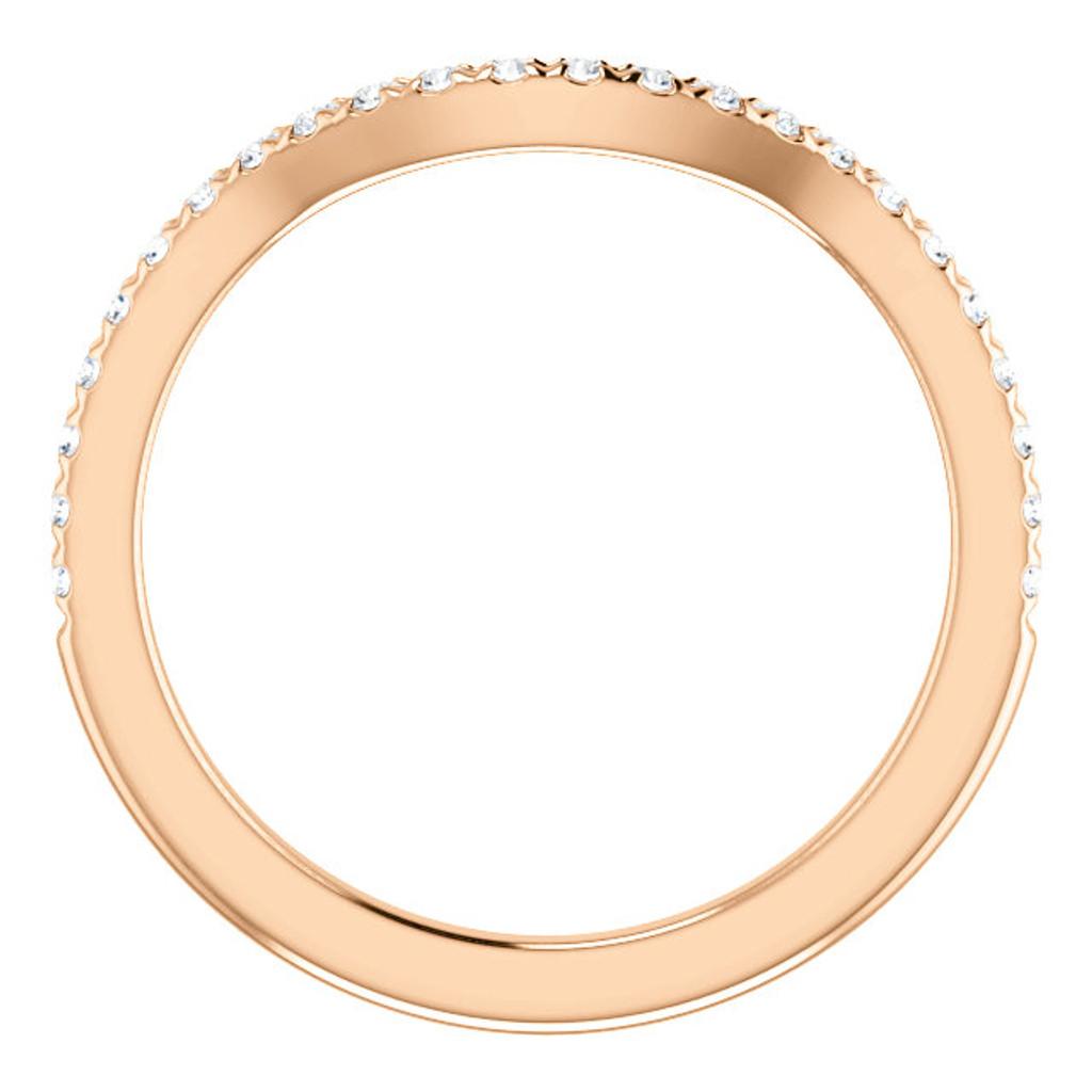 Solid 14 Karat Rose Gold Curved Band