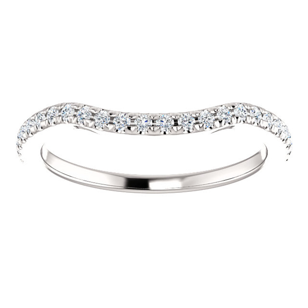 Cubic Zirconia Curved Matching Band
