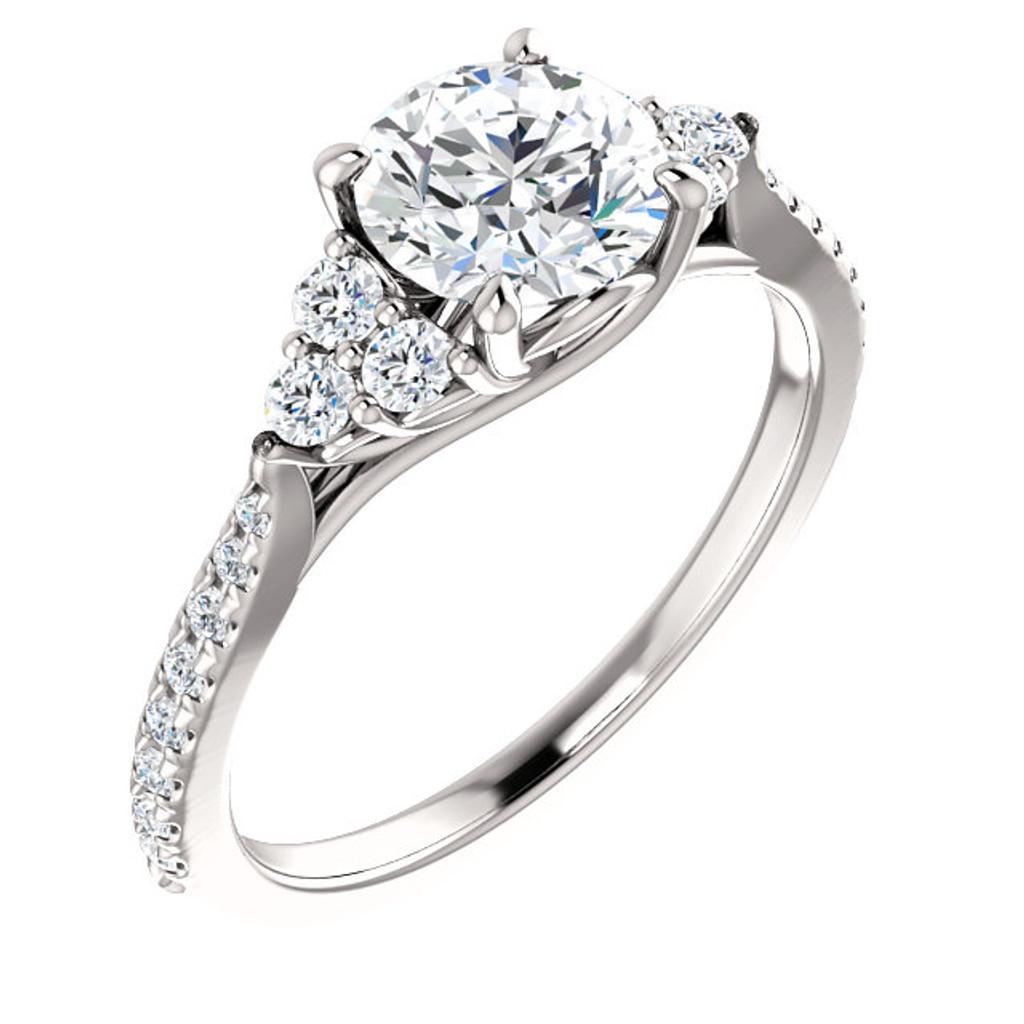 1 Carat Cubic Zirconia French Set Engagement Ring