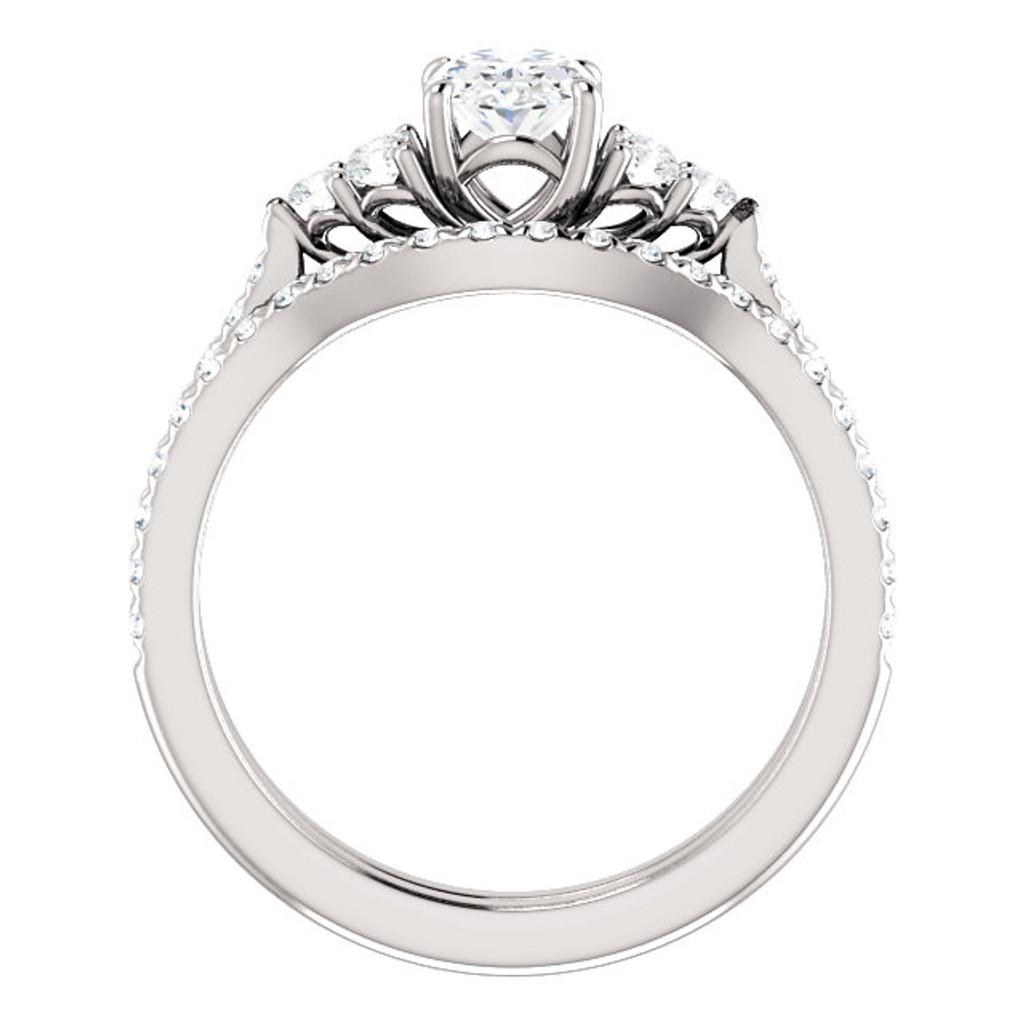 Solid 14 Karat White Gold Engagement Ring