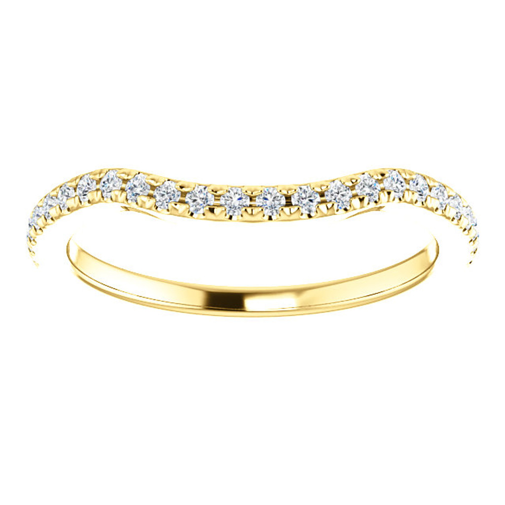 Solid 14 Karat Yellow Gold Curved Band