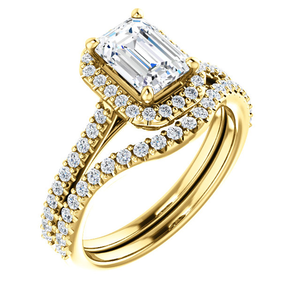 1 Carat Emerald Cut Halo Man Made Diamond Wedding Set