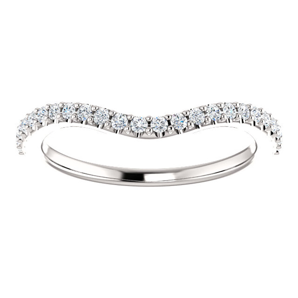 Solid 14 Karat White Gold Curved Matching CZ Band