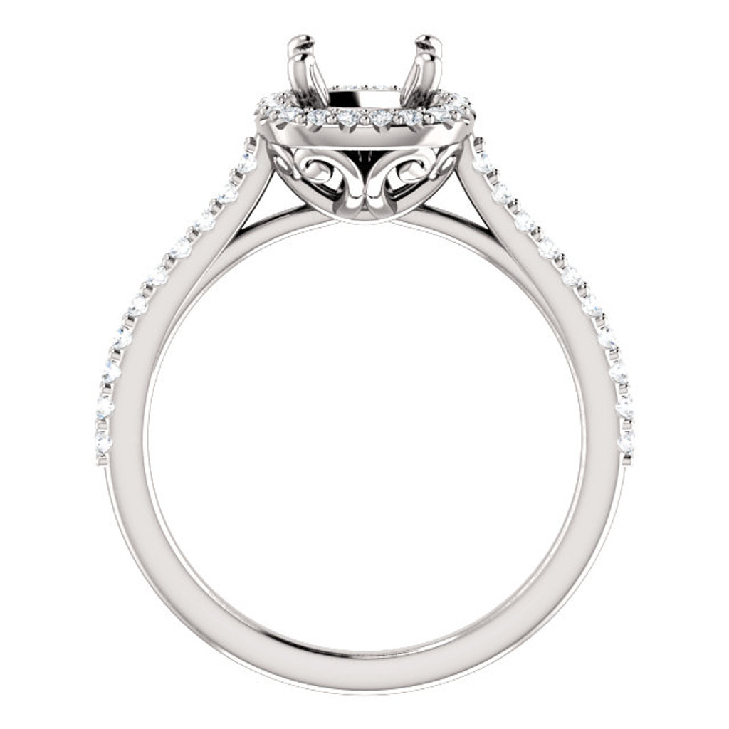 Beautiful Halo Semi-Set Engagement Ring in Your Choice of Center Stone