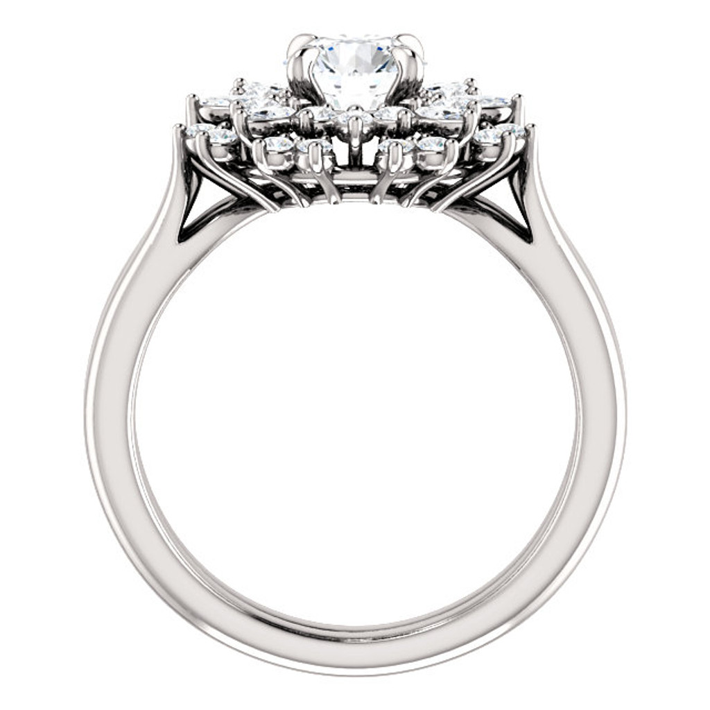 Cubic Zirconia Engagement Ring in Solid 14 Karat White Gold