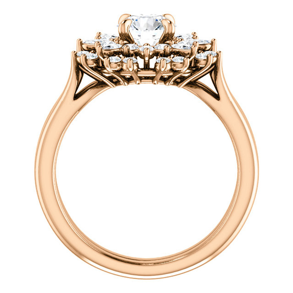 Solid 14 Karat Rose Gold Cubic Zirconia Engagement Ring