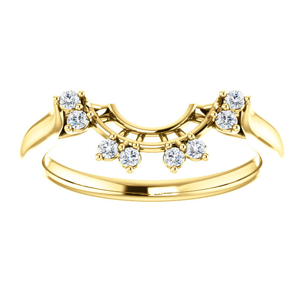 Lovely Curved Matching Wedding Band in Solid 14 Karat Yellow Gold