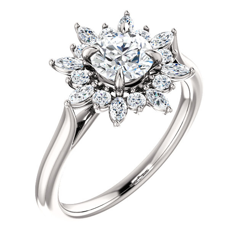 Hand Cut & Polished 1.00Ct Round Cubic Zirconia Engagement Ring