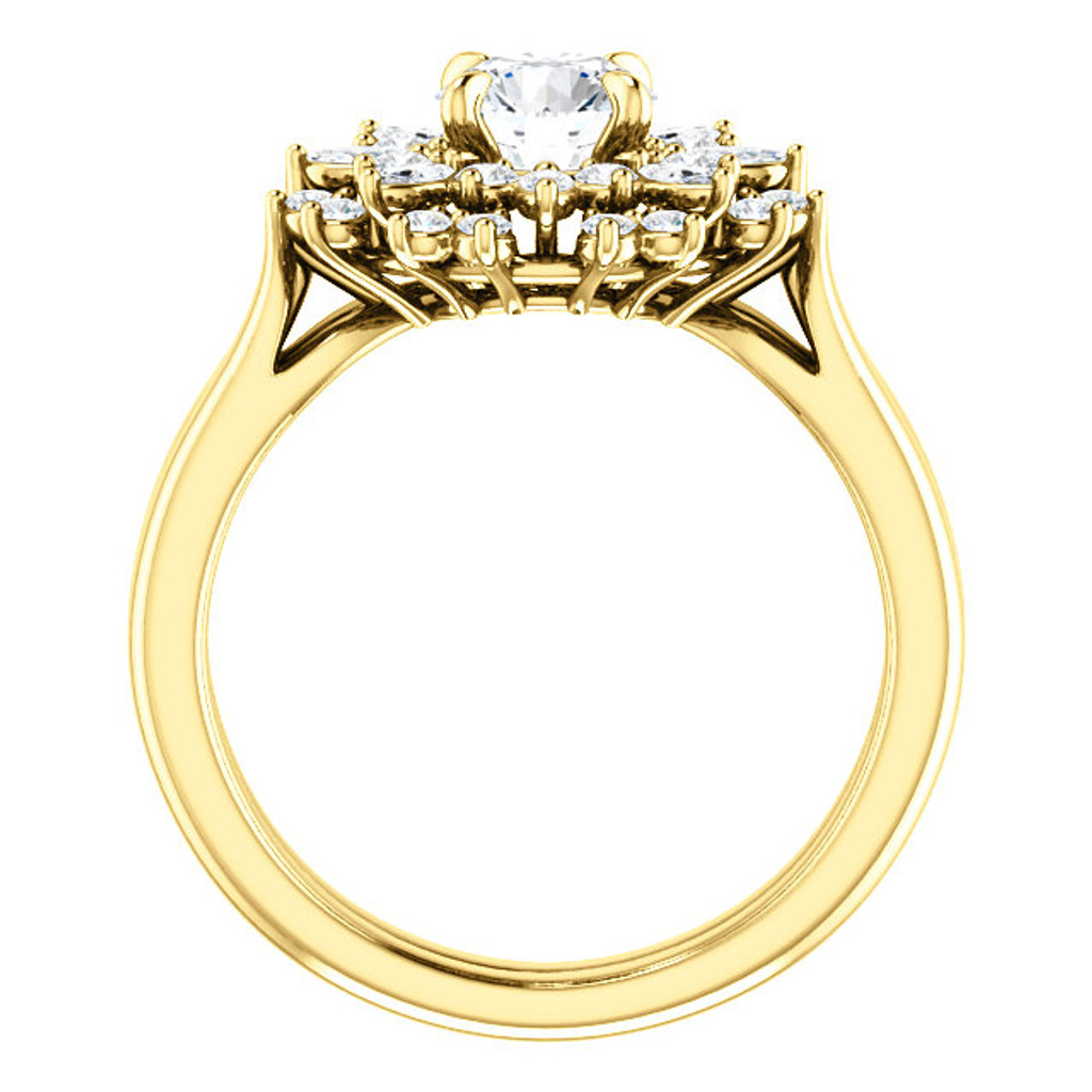 Solid 14 Karat Yellow Gold CZ Engagement Ring