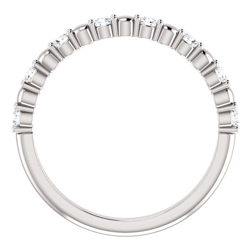 Solid 14 Karat White Gold Stackable Half Eternity Band