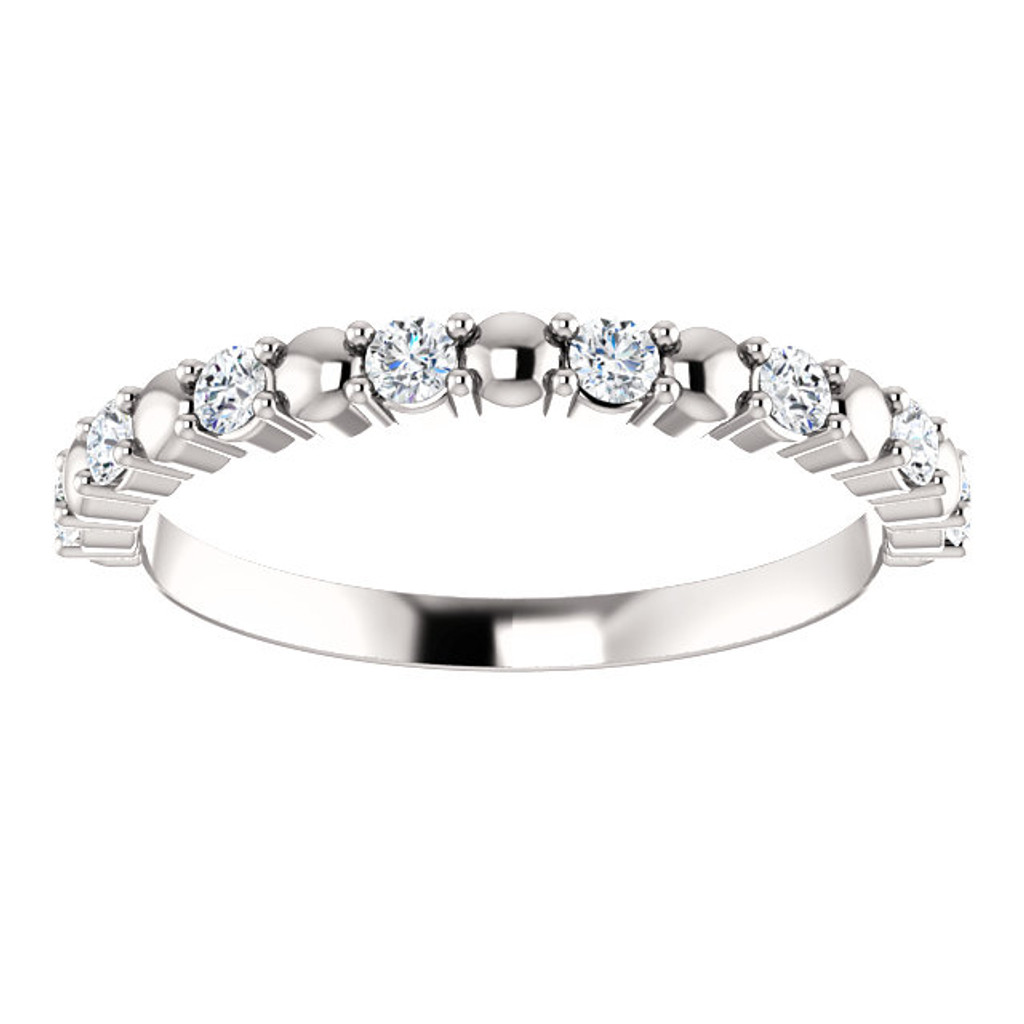 Lovely Cubic Zirconia Stackable Band in Solid 14 Karat White Gold