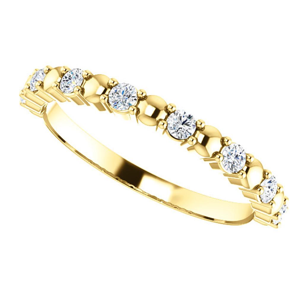 Stackable Solid 14 Karat Yellow Gold Bridal Band