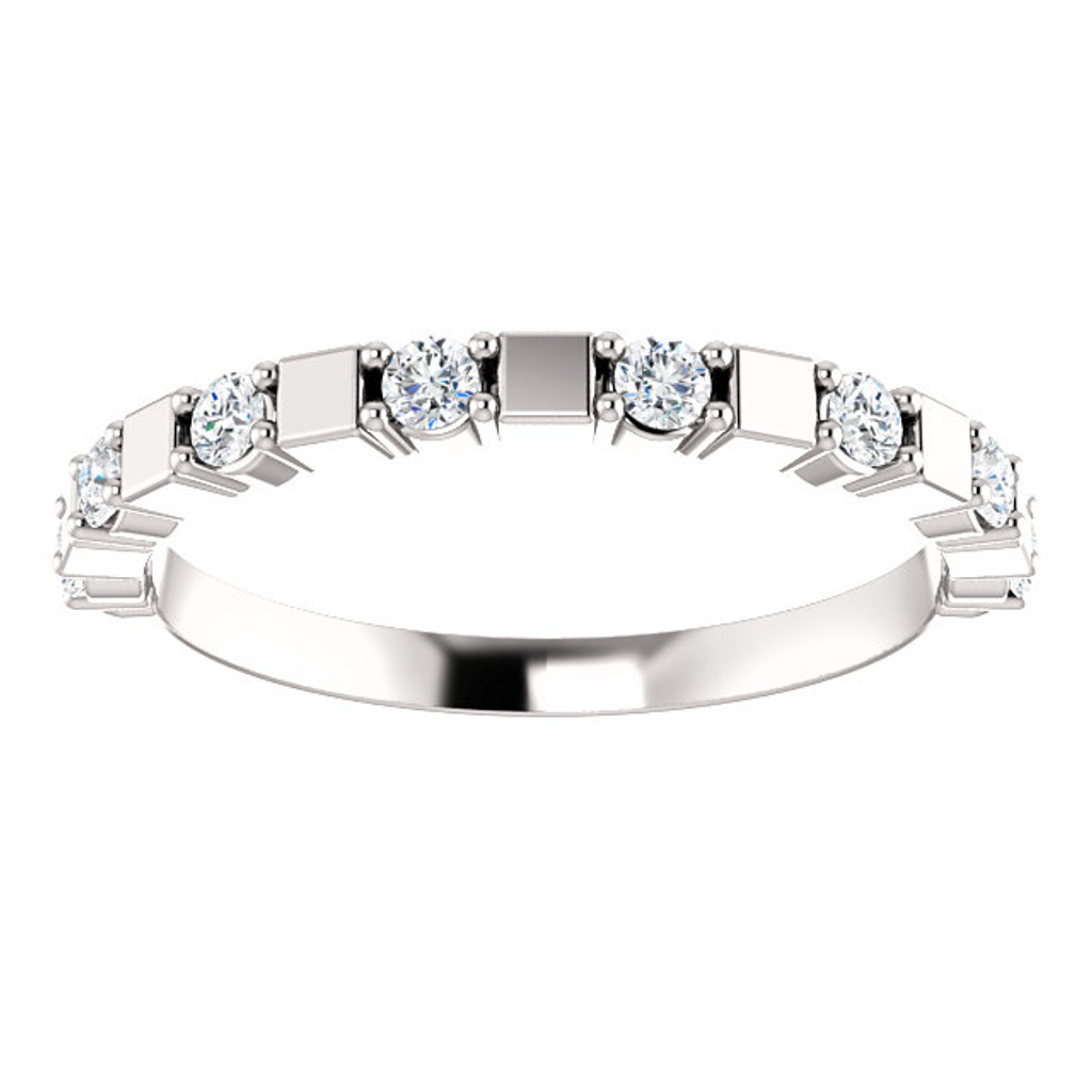 Stackable Solid 14 Karat White Gold Bridal Ring