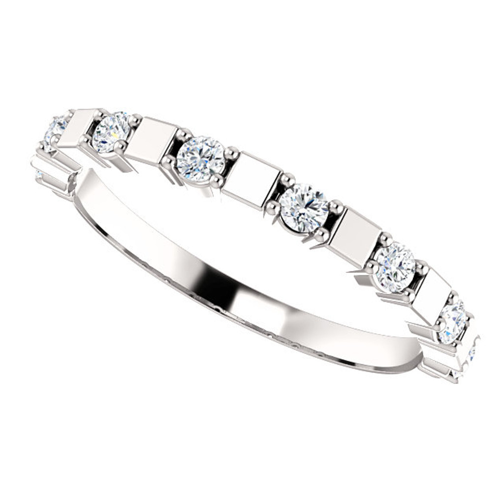 Mix & Match Stackable Cubic Zirconia Wedding Band