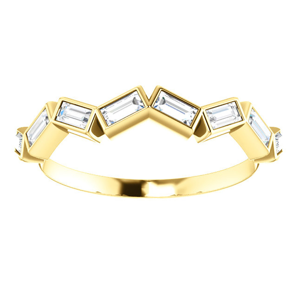 Fine Cubic Zirconia Stackable Straight Baguette Anniversary Band