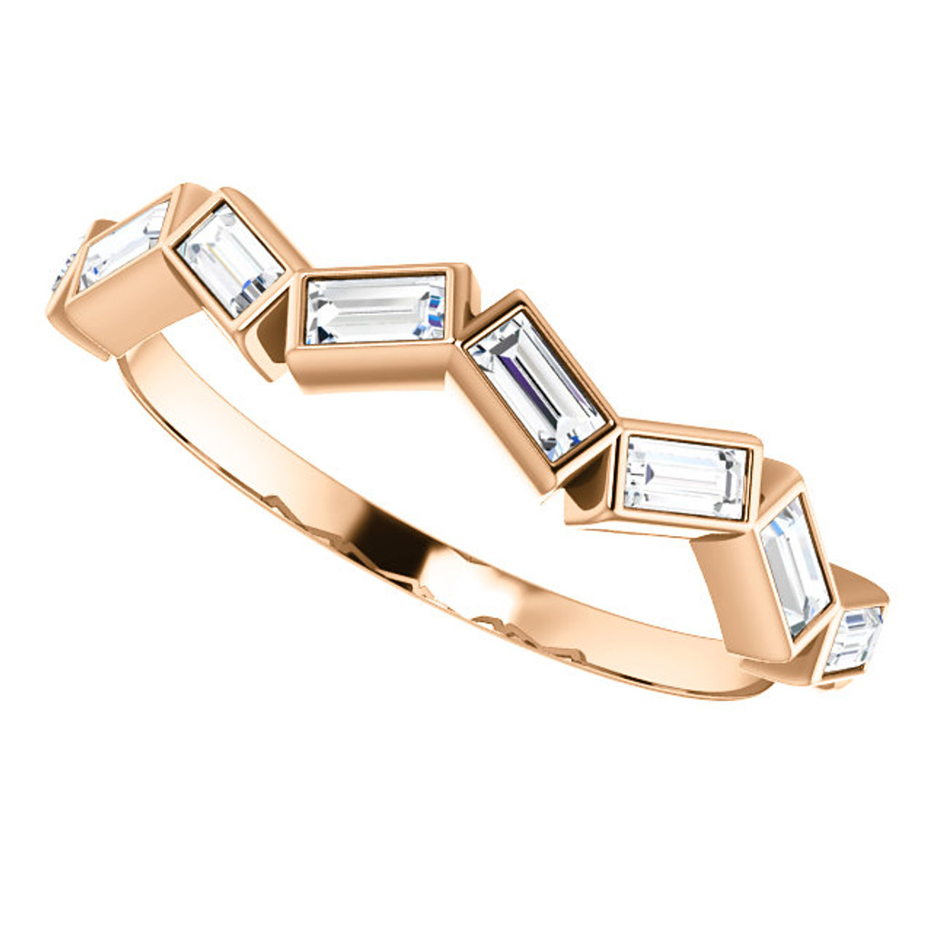 Solid 14 Karat Rose Gold Straight Baguette Stackable Band
