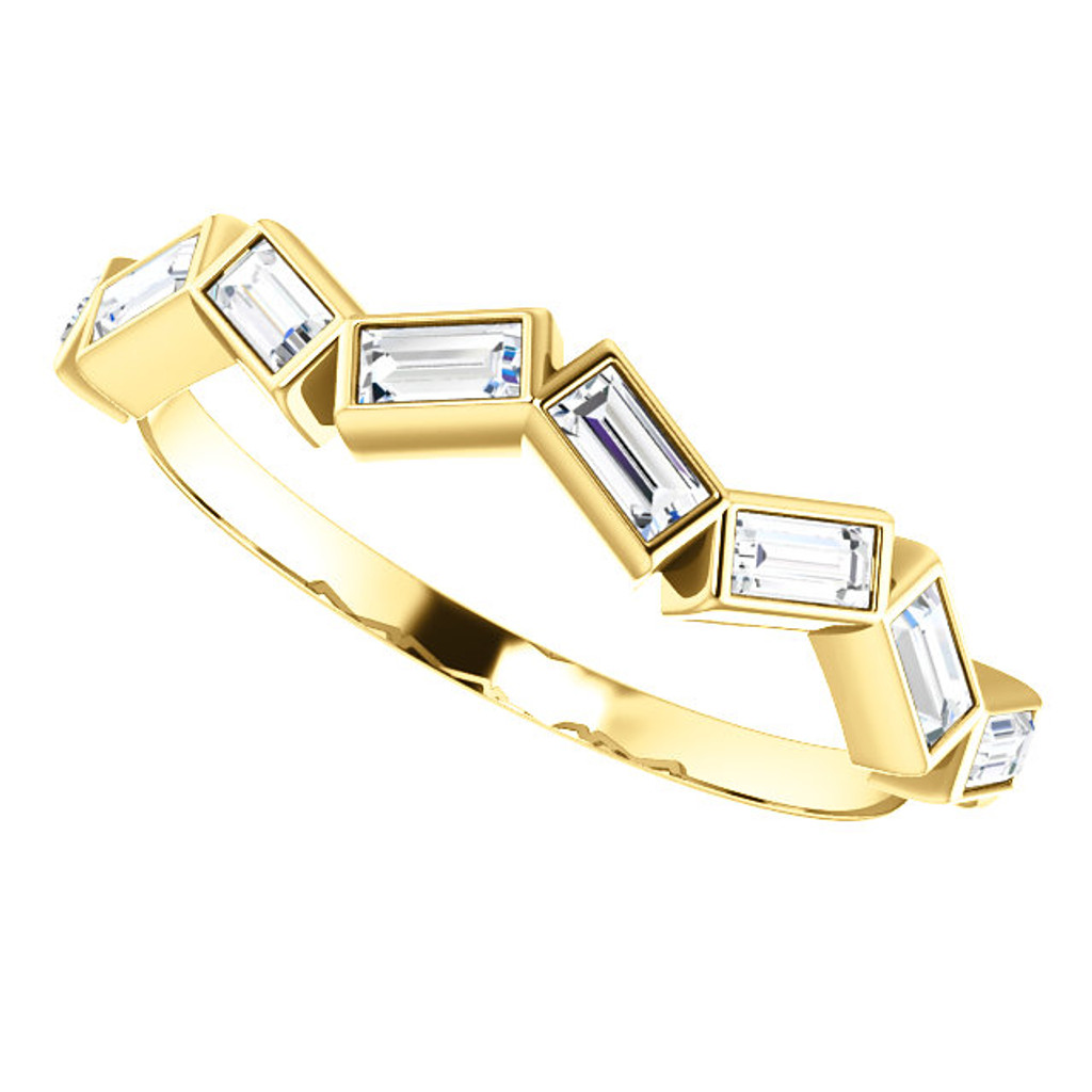 Stackable 14 Karat Yellow Gold Cubic Zirconia Band