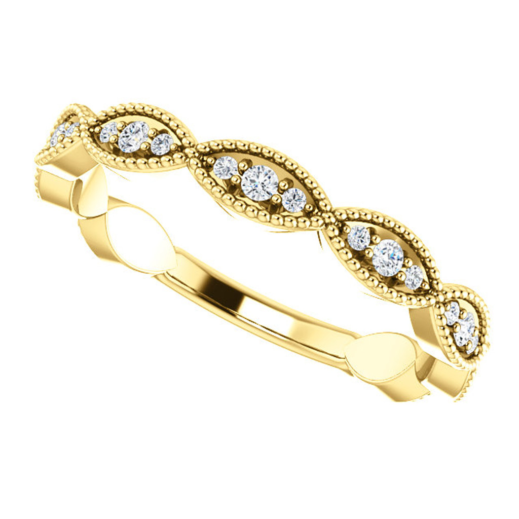 Worlds Finest Cubic Zirconia Stackable Band in Solid 14 Karat Yellow Gold