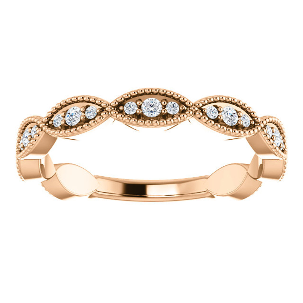 Exquisite Cubic Zirconia Wedding Band in Solid 14 Karat Pink Gold