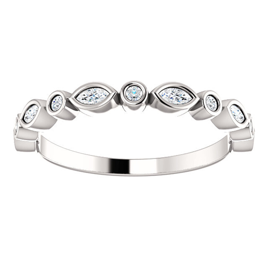 Stackable CZ Half Eternity Band in Solid 14 Karat White Gold