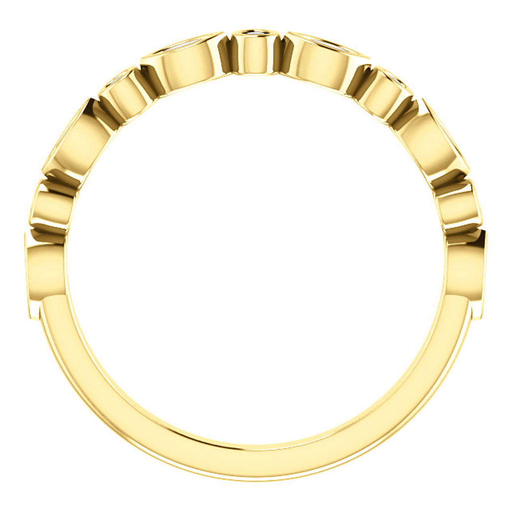Stackable Half Eternity Band in Solid 14 Karat Yellow Gold