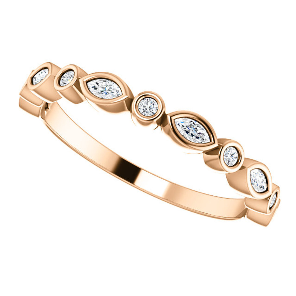 Highest Quality Cubic Zirconia Stackable Band in Solid 14 Karat Rose Gold