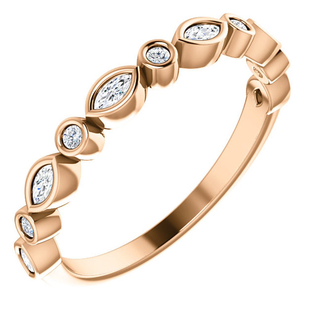 Lovely Cubic Zirconia Stackable Wedding Band in Solid 14 Karat Rose Gold