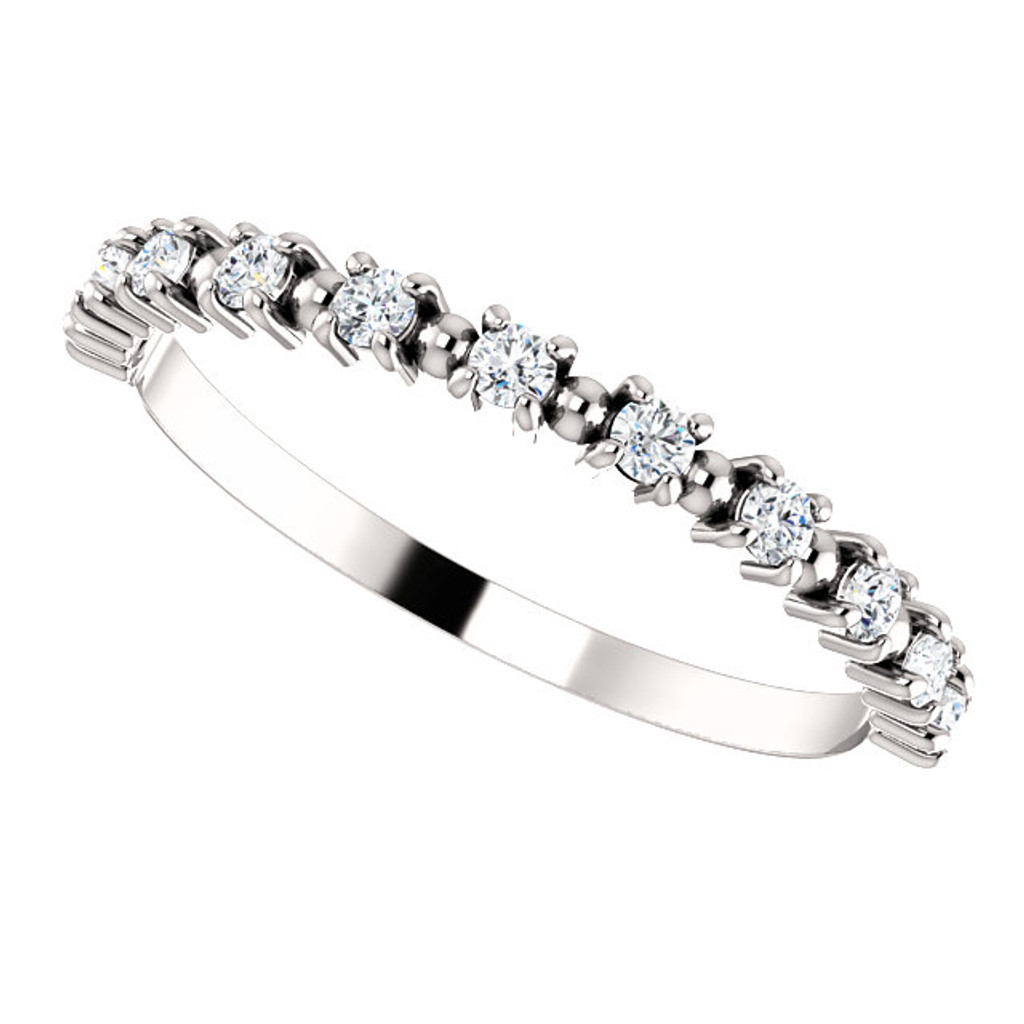 Stackable Half Eternity Band in Solid 14 Karat White Gold
