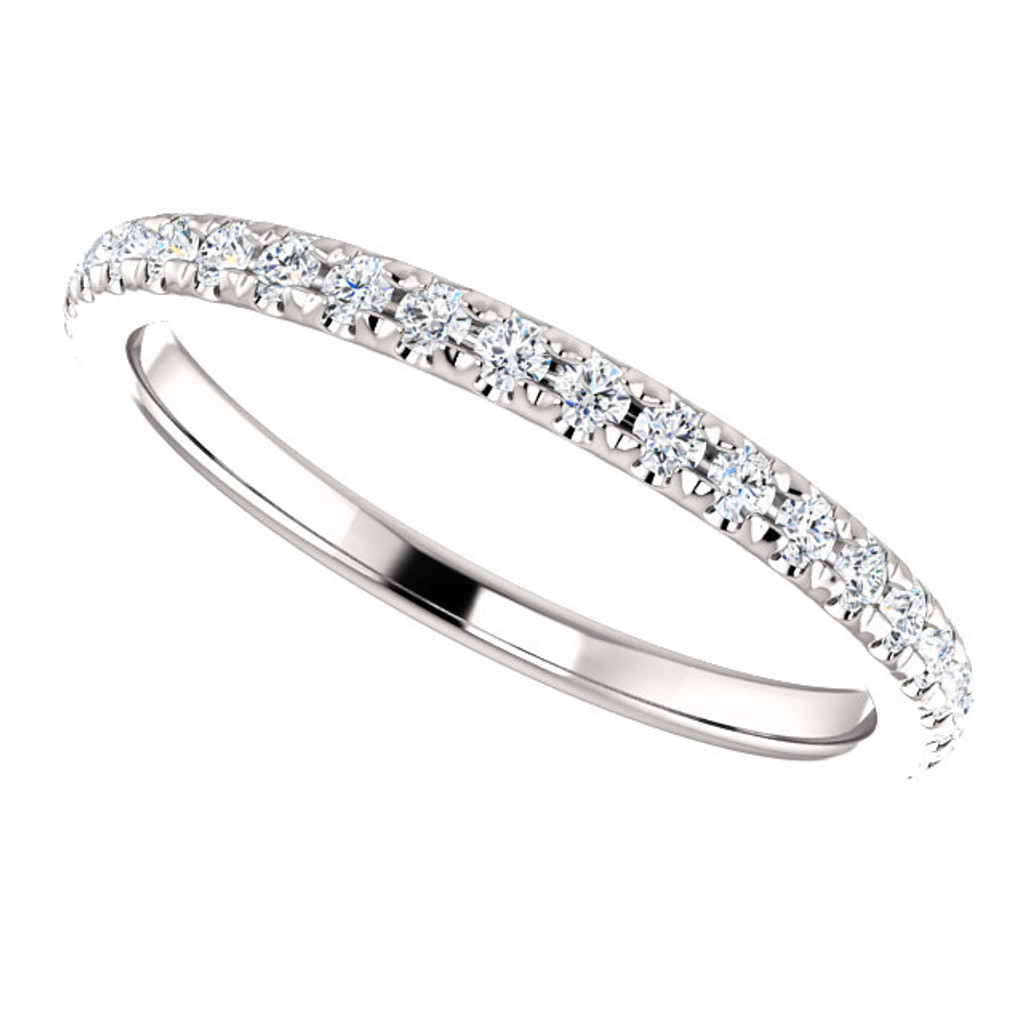 Fine Cubic Zirconia Mix & Match Wedding Band in Solid 14 Karat White Gold